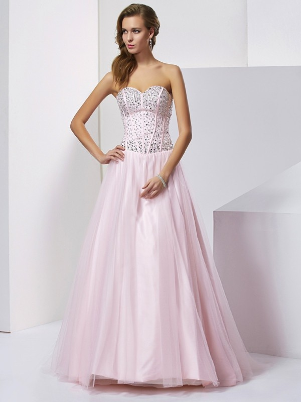 Ball Gown Beading Sweetheart Sleeveless Floor-Length Satin Dresses