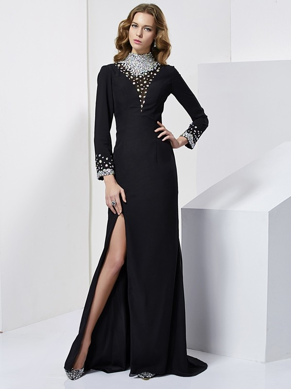 Sheath/Column Rhinestone High Neck Long Sleeves Sweep/Brush Train Chiffon Dresses