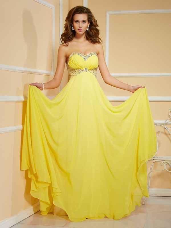 Sheath/Column Ruffles Sweetheart Sleeveless Floor-Length Chiffon Dresses