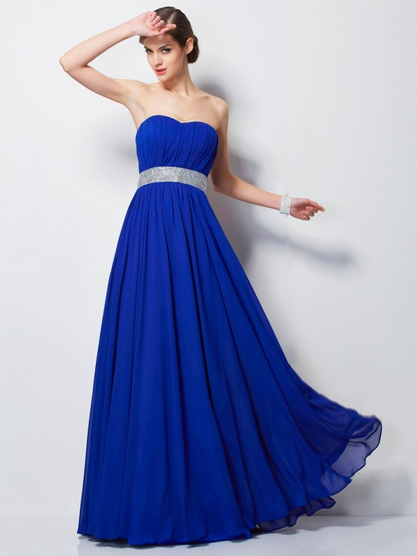 Empire Beading Sweetheart Sleeveless Floor-Length Chiffon Dresses