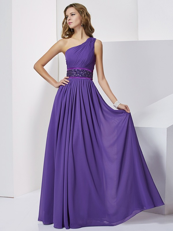 Empire Beading One-Shoulder Sleeveless Floor-Length Chiffon Dresses