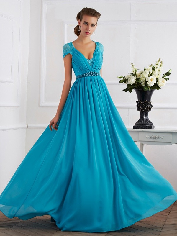 A-Line/Princess Beading V-neck Short Sleeves Floor-Length Chiffon Dresses