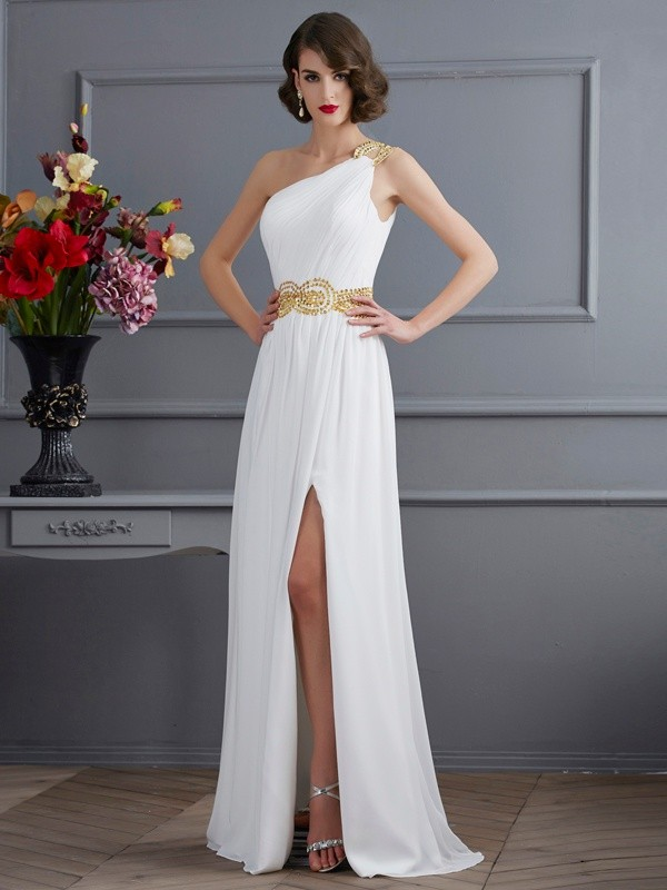 A-Line/Princess Ruched One-Shoulder Sleeveless Sweep/Brush Train Chiffon Dresses