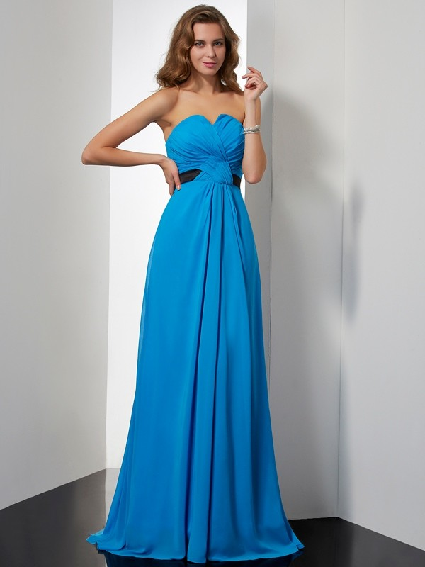 A-Line/Princess Sash/Ribbon/Belt Sweetheart Sleeveless Sweep/Brush Train Chiffon Dresses