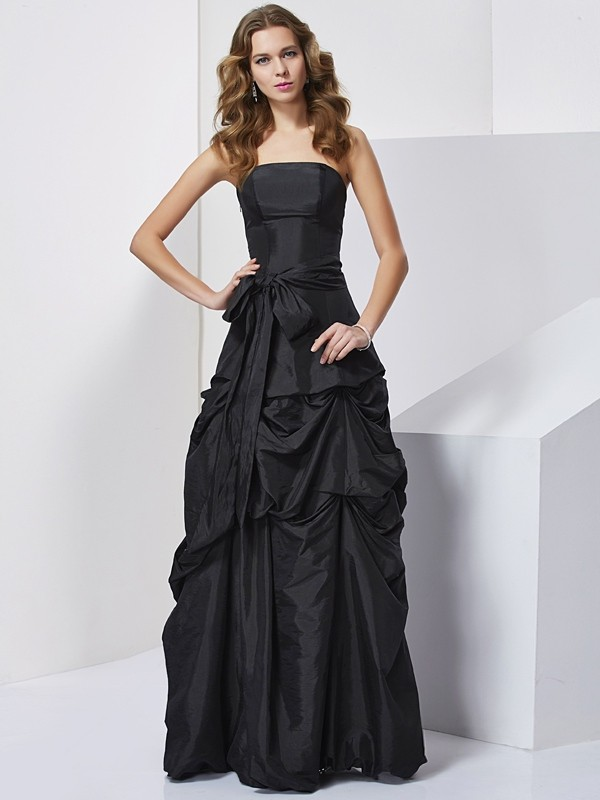 Sheath/Column Bowknot Strapless Sleeveless Floor-Length Taffeta Dresses