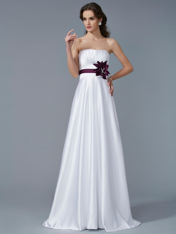 A-Line/Princess Hand-Made Flower Strapless Sleeveless Sweep/Brush Train Satin Dresses