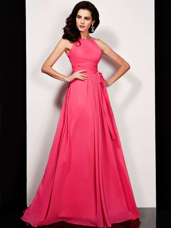A-Line/Princess Sash/Ribbon/Belt High Neck Sleeveless Floor-Length Chiffon Dresses