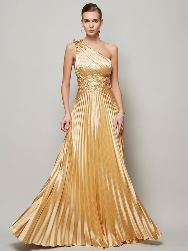 A-Line/Princess Hand-Made Flower One-Shoulder Sleeveless Floor-Length Elastic Woven Satin Dresses