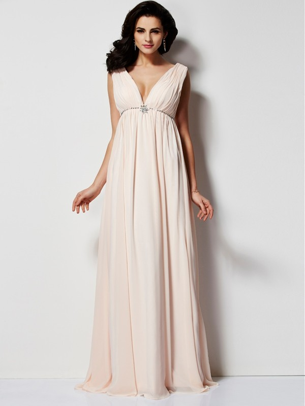 A-Line/Princess Pleats V-neck Sleeveless Floor-Length Chiffon Dresses
