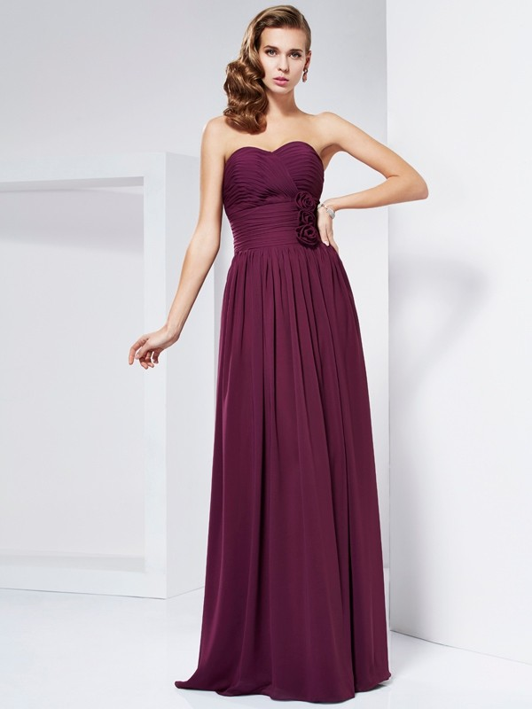 Sheath/Column Hand-Made Flower Sweetheart Sleeveless Floor-Length Chiffon Dresses