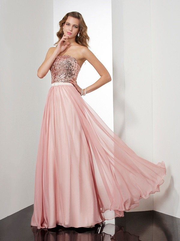 A-Line/Princess Paillette Strapless Sleeveless Floor-Length Chiffon Dresses