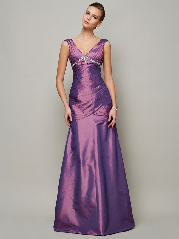 Sheath/Column Beading V-neck Sleeveless Floor-Length Taffeta Dresses