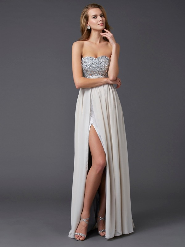 A-Line/Princess Rhinestone Sweetheart Sleeveless Floor-Length Chiffon Dresses