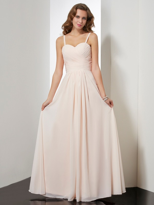 Sheath/Column Ruffles Spaghetti Straps Sleeveless Floor-Length Chiffon Dresses