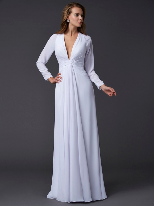 Sheath/Column Ruched V-neck Long Sleeves Floor-Length Chiffon Dresses