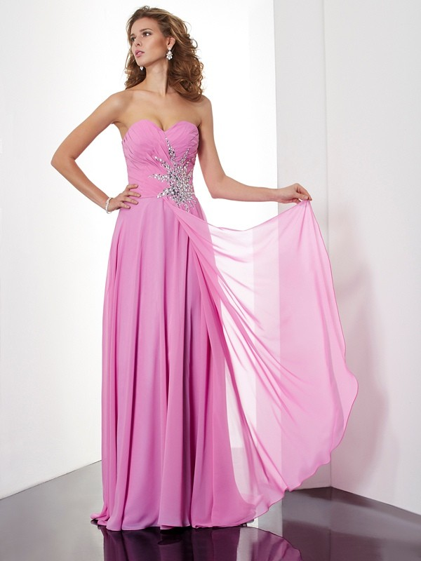 A-Line/Princess Ruched Sweetheart Sleeveless Floor-Length Chiffon Dresses