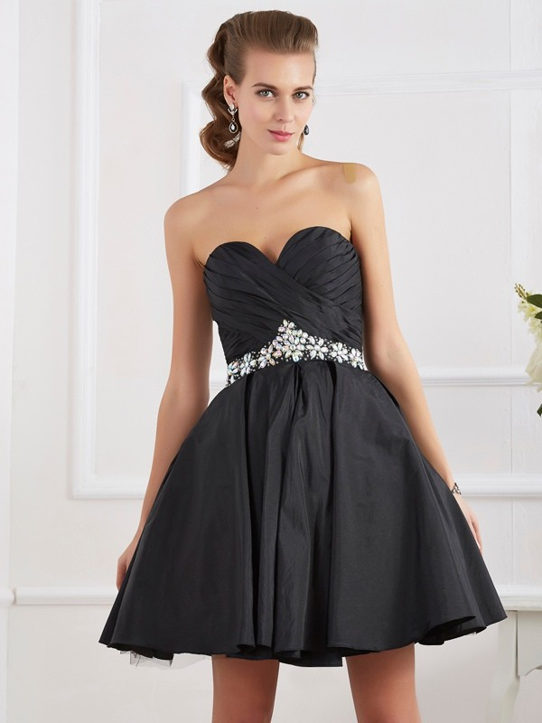 A-Line/Princess Beading Sweetheart Sleeveless Short/Mini Taffeta Dresses