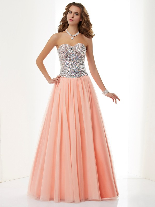 A-Line/Princess Beading Sweetheart Sleeveless Floor-Length Elastic Woven Satin Dresses