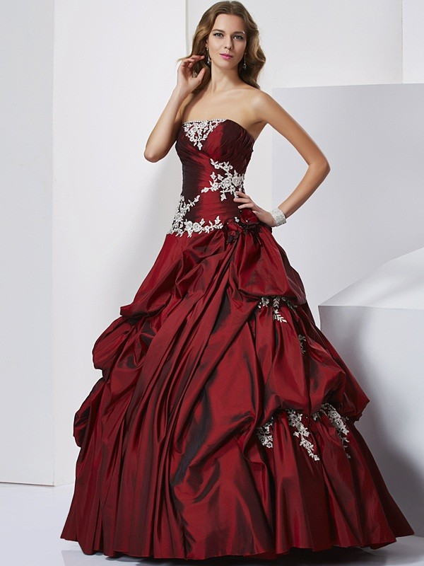 Ball Gown Beading Sweetheart Sleeveless Floor-Length Taffeta Dresses