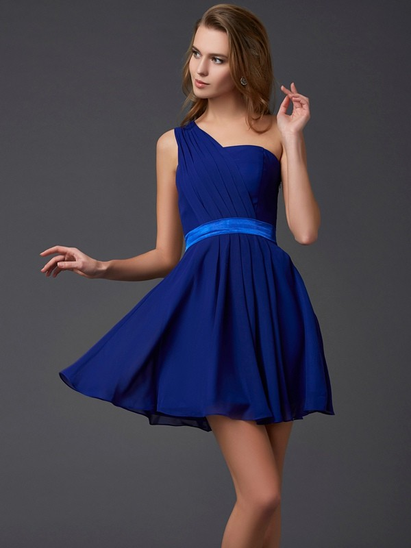 A-Line/Princess Pleats One-Shoulder Sleeveless Short/Mini Chiffon Dresses