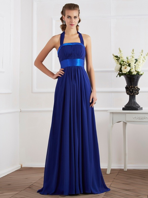 A-Line/Princess Ruched Halter Sleeveless Floor-Length Chiffon Dresses