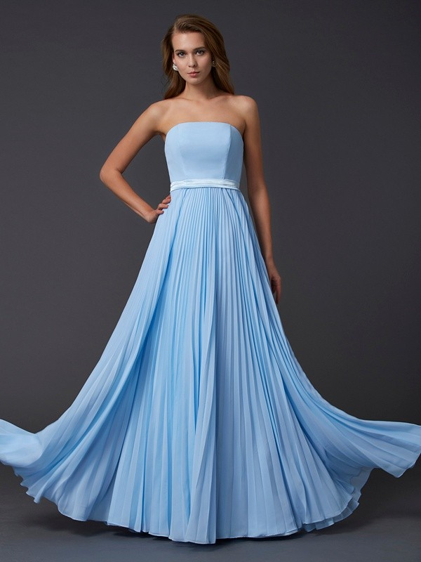 A-Line/Princess Ruched Strapless Sleeveless Floor-Length Chiffon Dresses