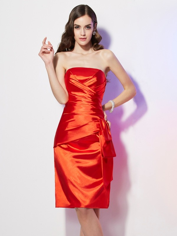 Sheath/Column Pleats Strapless Sleeveless Short/Mini Elastic Woven Satin Dresses