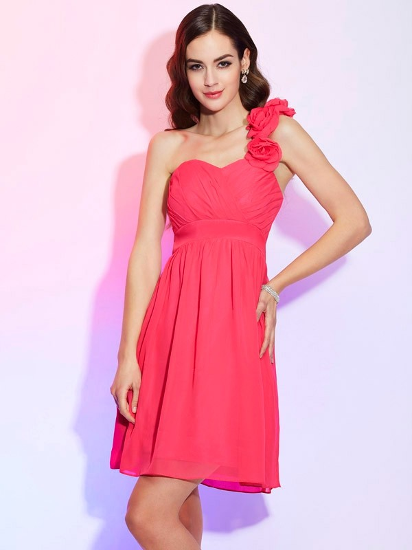 A-Line/Princess Pleats One-Shoulder Sleeveless Knee-Length Chiffon Dresses