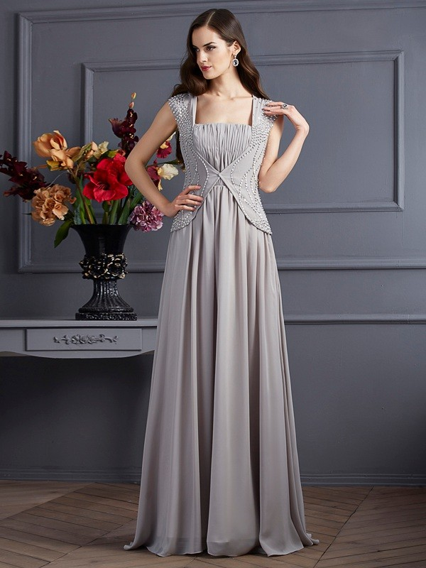 A-Line/Princess Beading Square Sleeveless Floor-Length Chiffon Dresses