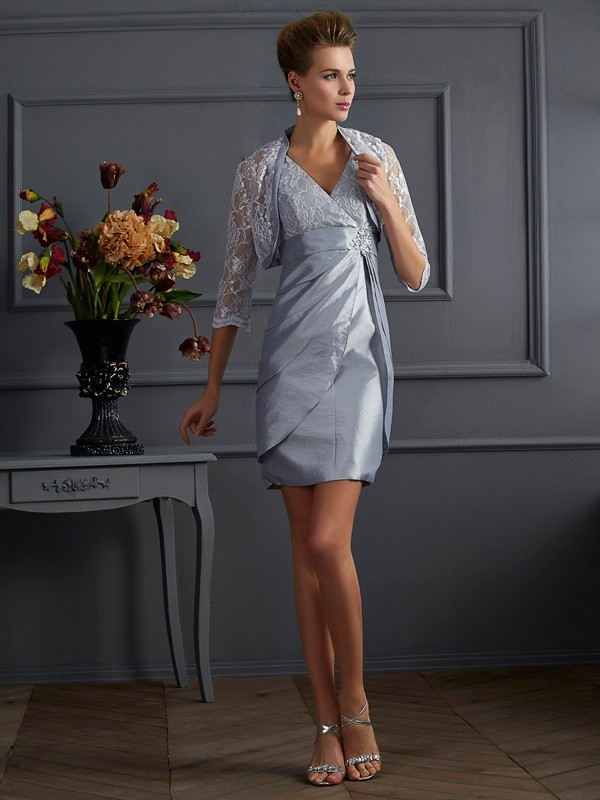 Sheath/Column V-neck Sleeveless Short/Mini Taffeta Dresses