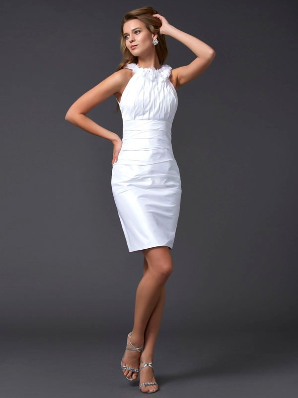 Sheath/Column Hand-Made Flower High Neck Sleeveless Short/Mini Taffeta Dresses
