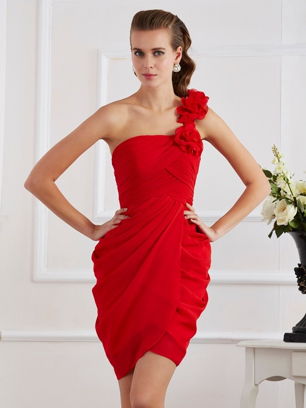 Sheath/Column Hand-Made Flower One-Shoulder Sleeveless Short/Mini Chiffon Dresses