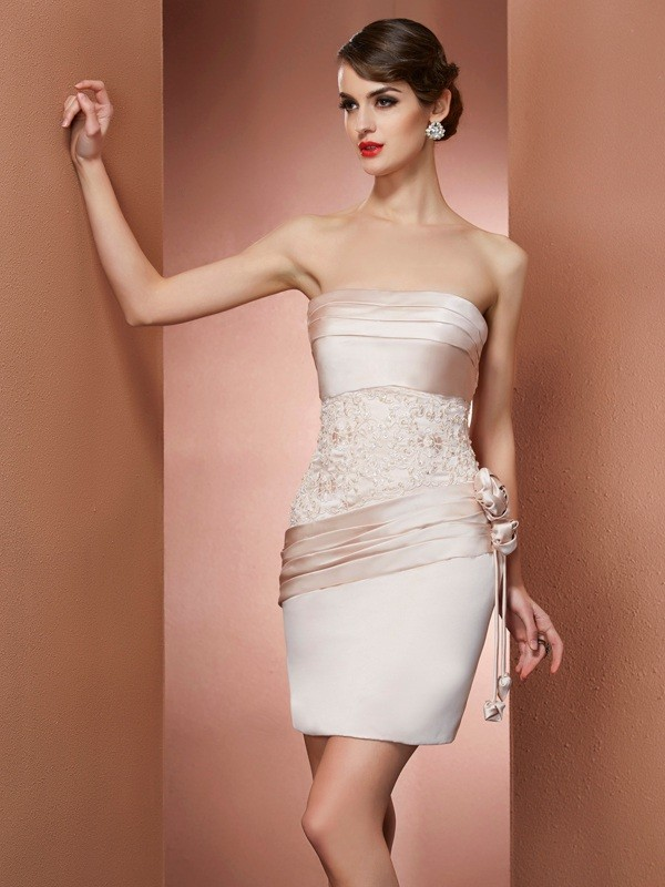 Sheath/Column Hand-Made Flower Strapless Sleeveless Short/Mini Satin Dresses