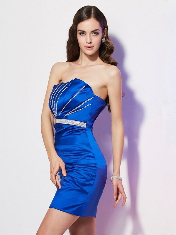 Sheath/Column Beading Strapless Sleeveless Short/Mini Satin Dresses