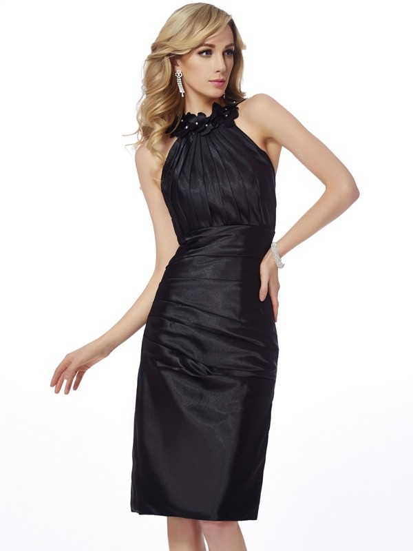 Sheath/Column Applique Bateau Sleeveless Knee-Length Elastic Woven Satin Dresses