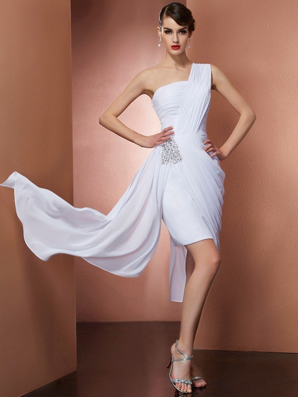 Sheath/Column Beading One-Shoulder Sleeveless Short/Mini Chiffon Dresses