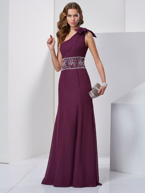 A-Line/Princess Beading One-Shoulder Sleeveless Floor-Length Chiffon Dresses