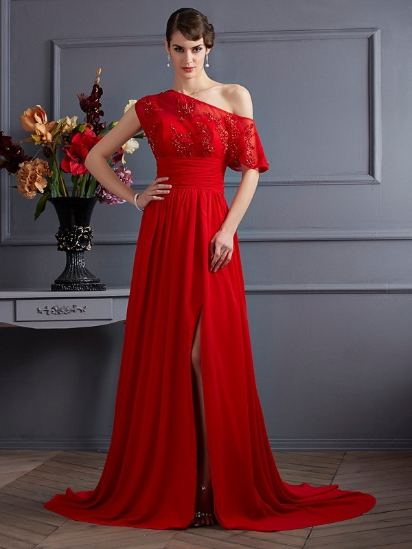 A-Line/Princess Applique One-Shoulder Sleeveless Court Train Chiffon Dresses