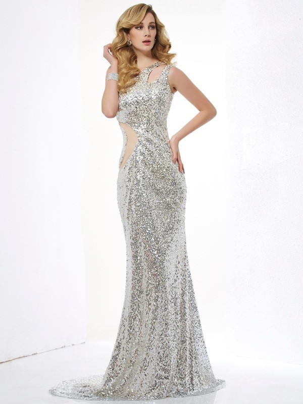 Trumpet/Mermaid Lace One-Shoulder Sleeveless Sweep/Brush Train Lace Dresses