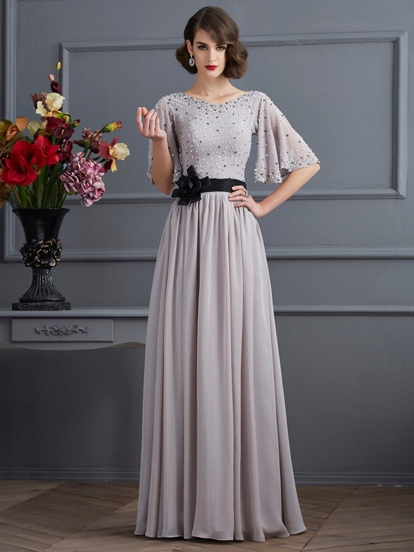 A-Line/Princess Beading High Neck 1/2 Sleeves Floor-Length Chiffon Dresses