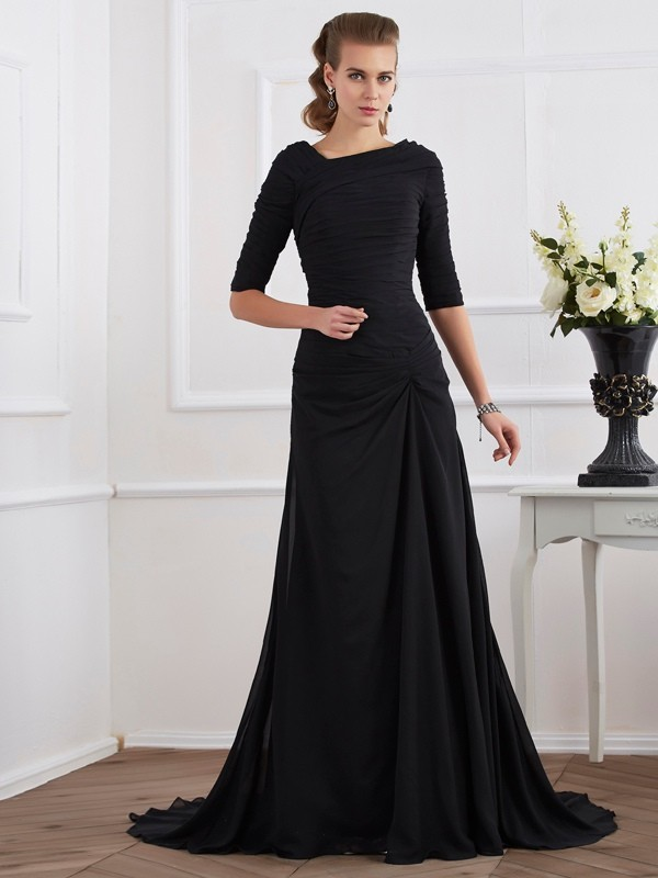 A-Line/Princess Pleats Other 1/2 Sleeves Sweep/Brush Train Chiffon Dresses