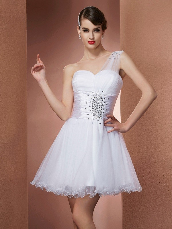 A-Line/Princess Beading One-Shoulder Sleeveless Short/Mini Net Dresses
