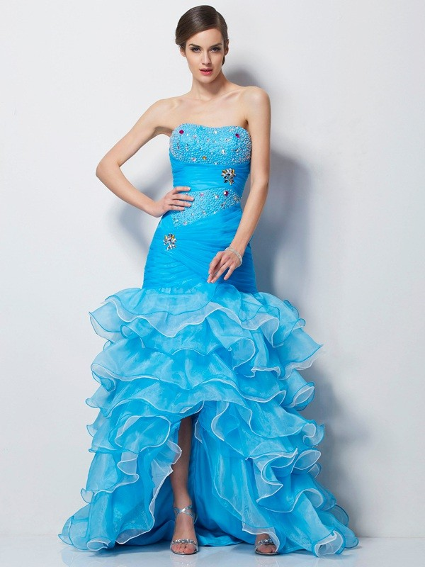 Trumpet/Mermaid Beading Sweetheart Sleeveless Asymmetrical Tulle Dresses