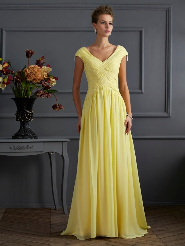 A-Line/Princess Beading V-neck Short Sleeves Sweep/Brush Train Chiffon Dresses