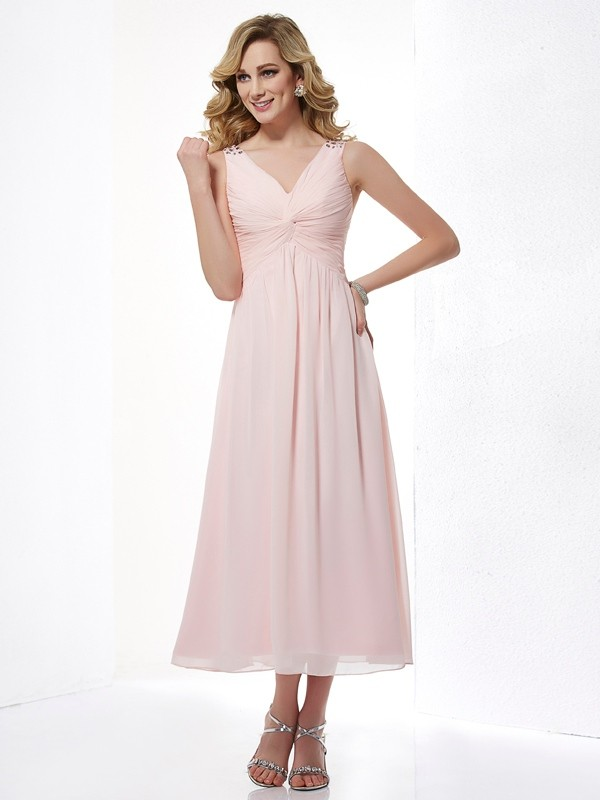 A-Line/Princess Beading V-neck Sleeveless Tea-Length Chiffon Dresses
