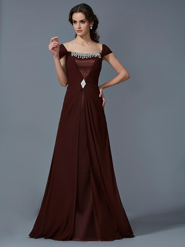 A-Line/Princess Strapless Short Sleeves Floor-Length Chiffon Dresses