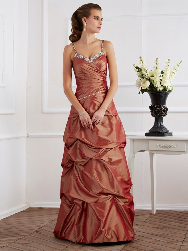 Sheath/Column Beading Spaghetti Straps Sleeveless Floor-Length Taffeta Dresses