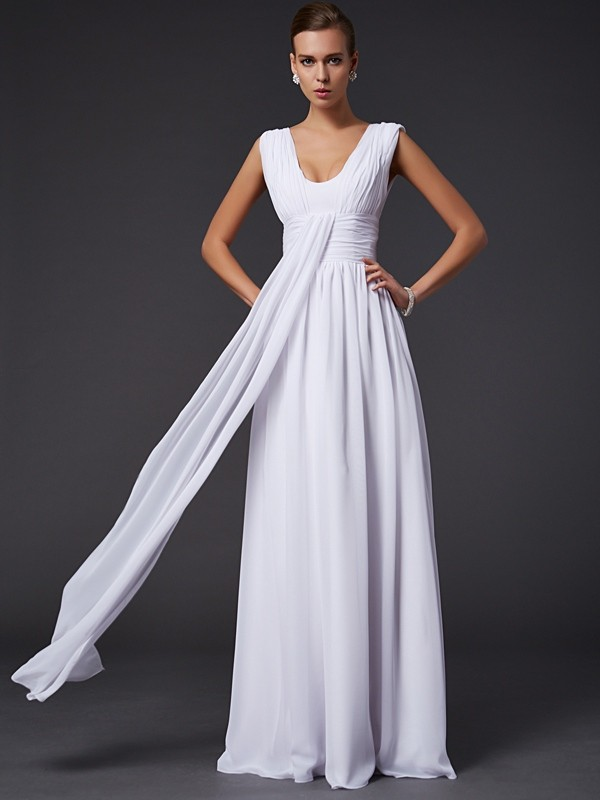 A-Line/Princess Pleats Jewel Sleeveless Floor-Length Chiffon Dresses