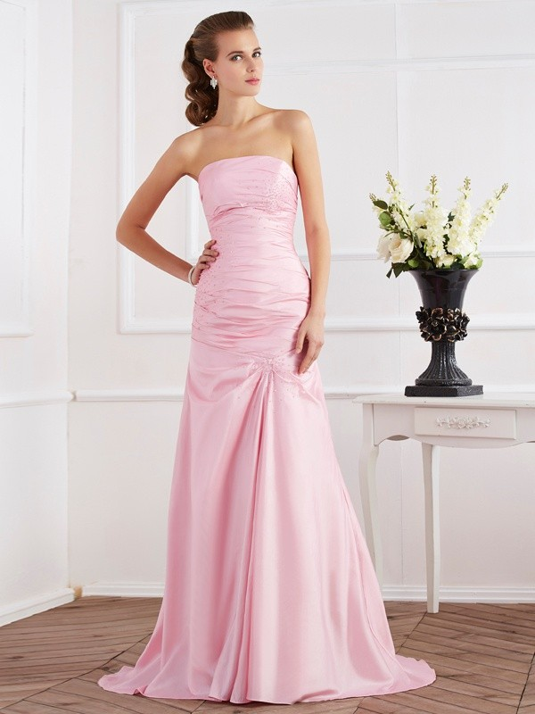 Trumpet/Mermaid Beading Strapless Sleeveless Sweep/Brush Train Taffeta Dresses