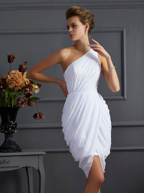 Sheath/Column Pleats One-Shoulder Sleeveless Short/Mini Chiffon Dresses